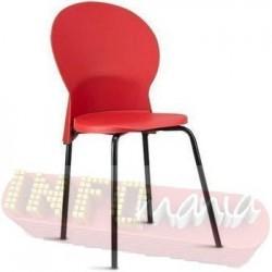 Cadeira Luna Frisokar preta polipropileno vermelho