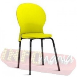 Cadeira Luna Frisokar preta polipropileno amarela