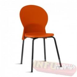 Cadeira Luna Frisokar preta polipropileno laranja