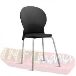 Cadeira Luna Frisokar cinza polipropileno preto