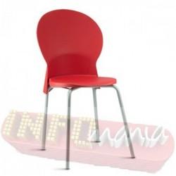 Cadeira Luna Frisokar cinza polipropileno vermelho
