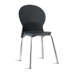 Cadeira Luna Frisokar cromada polipropileno preto