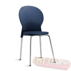 Cadeira Luna Frisokar cromada polipropileno azul