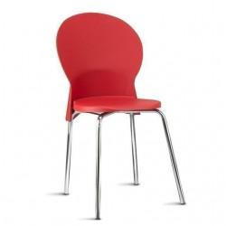 Cadeira Luna Frisokar cromada polipropileno vermelho