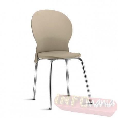Cadeira Luna Frisokar cromada polipropileno areia