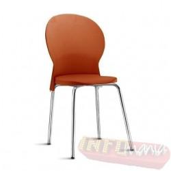 Cadeira Luna Frisokar cromada polipropileno laranja